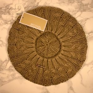 Michael Kors Cable Knit Beret in Camel